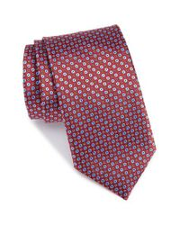 Canali - Red Geometric Silk Tie for Men - Lyst