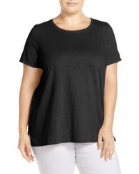 Eileen Fisher - Black Slubbed Organic Cotton Jersey Top - Lyst
