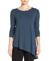 Eileen Fisher | Blue Round Neck Lightweight Jersey Asymmetrical Hem Top | Lyst