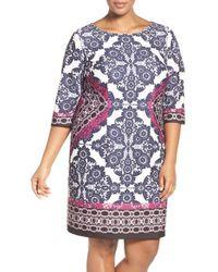 Eliza J - Blue Geo Print Ponte Sheath Dress - Lyst
