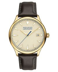 Movado | Black 'heritage' Leather Strap Watch for Men | Lyst