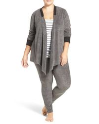 DKNY - Gray Fleece Cardigan & Leggings - Lyst