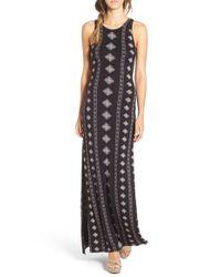 Amuse Society - Black 'fawn' Print Maxi Dress - Lyst