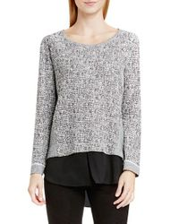 Two By Vince Camuto | Gray Woven Hem Metallic Knit Top | Lyst