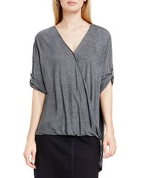 Two By Vince Camuto | Gray High/low Drape Front Top | Lyst