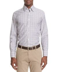 Canali - Purple Trim Fit Check Sport Shirt for Men - Lyst