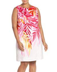 Ellen Tracy | White Placed Print Sleeveless Sheath Dress | Lyst