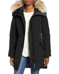 Canada Goose | Black Rossclair Genuine Coyote Fur Trim Down Parka | Lyst