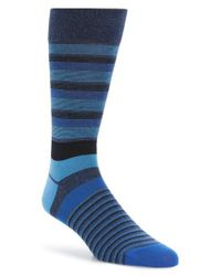 Bugatchi | Blue Stripe Socks for Men | Lyst