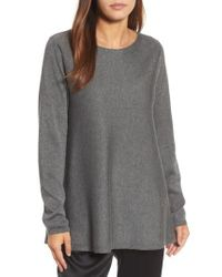 Eileen Fisher - Gray Bateau Neck Tunic Sweater - Lyst
