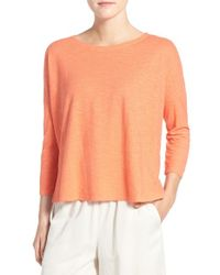 Eileen Fisher - Orange Hemp & Organic Cotton Bateau Neck Top - Lyst