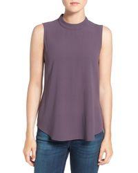 Eileen Fisher - Purple Silk Crepe High Neck Sleeveless Blouse - Lyst