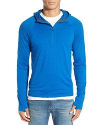 Ibex | Blue 'indie' Merino Wool Quarter Zip Hoodie for Men | Lyst