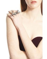 Lanvin - Metallic 'love' Double Finger Ring - Lyst