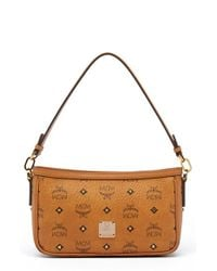 MCM | Brown 'small Visetos' Convertible Coated Canvas Shoulder Bag | Lyst