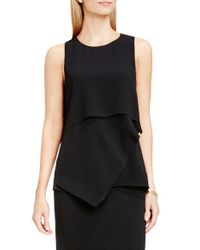 Vince Camuto | Black Sleeveless Asymmetrical Layer Blouse | Lyst