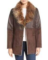 Jessica Simpson   Brown Mixed Media Faux Shearling Jacket   Lyst