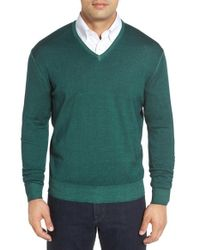 Robert Talbott | Green Merino Wool V-neck Sweater for Men | Lyst