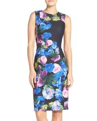 Eliza J | Blue Floral Print Scuba Sheath Dress | Lyst