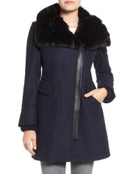 Via Spiga | Blue Faux Fur Trim Asymmetrical Wool Blend Coat | Lyst