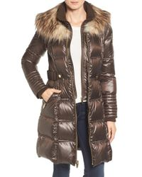 Via Spiga | Brown Quilted Coat With Faux Fur Trim | Lyst