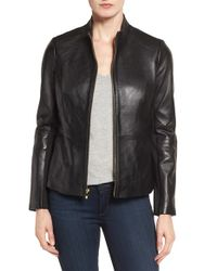 Via Spiga - Black Lambskin Leather Scuba Jacket - Lyst
