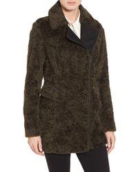 Catherine Malandrino | Green Asymmetric Faux Fur Car Coat | Lyst