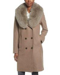 Elie Tahari | Multicolor Trystan Wool Blend Coat With Genuine Fox Fur Trim | Lyst