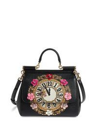 Dolce   Gabbana. Women s Black  small Miss Sicily - Floral Clock  Calfskin Leather  Satchel a2eb3ff44d