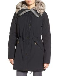 Vince Camuto | Black Parka With Faux Fur Lined Hood | Lyst