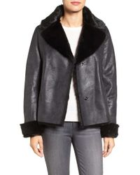 Vince Camuto | Black Faux Shearling Coat | Lyst