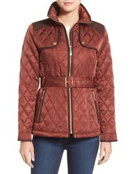 Vince Camuto | Red Diamond Quilted Jacket With Faux Suede Trim | Lyst