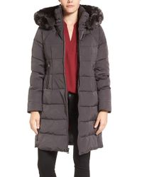 Vince Camuto | Gray Down & Feather Fill Coat With Faux Fur Trim Hood | Lyst