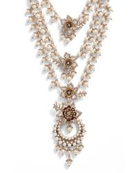 Marchesa | Metallic Faux Pearl Multistrand Statement Necklace | Lyst