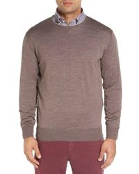 Peter Millar | Gray Crewneck Merino Wool & Silk Sweater for Men | Lyst