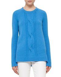 Akris Punto | Blue Braid Front Wool & Cashmere Sweater | Lyst