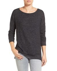Gibson | Black Cozy Fleece Ballet Neck High/low Pullover | Lyst