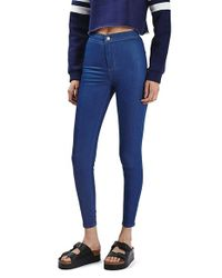 TOPSHOP - Blue Moto 'joni' High Rise Crop Skinny Jeans - Lyst