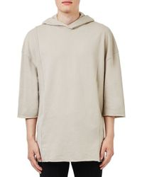 TOPMAN - Gray Raw Edge Three Quarter Sleeve Hoodie for Men - Lyst