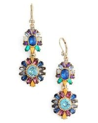 Marchesa | Blue Double Drop Earrings | Lyst