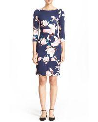 Erdem   Blue Reese Floral Print Jersey Sheath Dress   Lyst