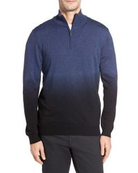Bugatchi - Blue Ombre Quarter Zip Sweater for Men - Lyst