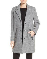 Calvin Klein | Gray Boucle Walking Coat | Lyst
