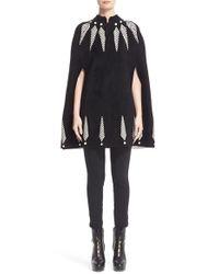 Alexander McQueen Black Feather Knit Cape