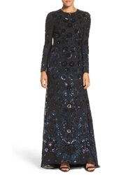 Needle & Thread - Black Embellished Georgette Maxi Dress  - Lyst