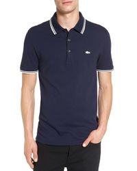 Lacoste | Blue Pique Polo With Rubberized Logo for Men | Lyst