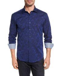 Bugatchi   Blue Shaped Fit Jacquard Sport Shirt for Men   Lyst