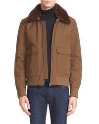 Acne Studios Green 'abel' Twill Jacket With Genuine Shearling Collar for men