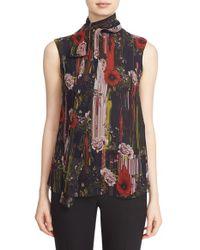 Jason Wu - Black Tie Neck Floral Print Silk Chiffon Blouse - Lyst