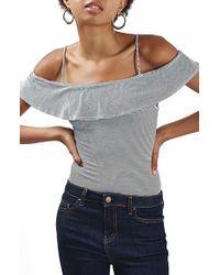 TOPSHOP - Gray Stripe Bardot Bodysuit - Lyst